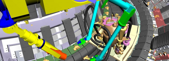 Virtual Reality Simulation showing the Remote Handling Mascot Manipulator