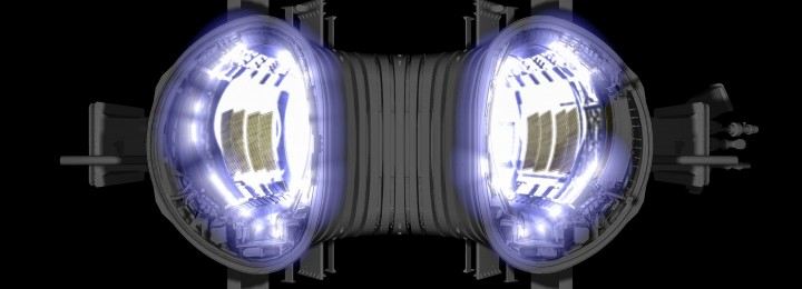Computer Generated Image illustrating a cross-section of JET's torus with an impression of a plasma