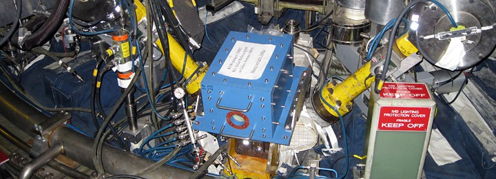 picture of camera installed in its blue-painted magnetic shield