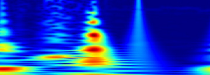 A student spectrogram from the Golem tokamak, showing high frequency noise in the kHz range during a 20 millisecond long pulse.