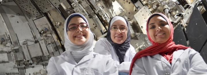 Prizewinner Azza Faiad (left) gets inside fusion in the in-vessel training facility with Rasha Dwedar and Nourwanda Sourour.