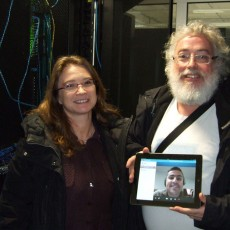 Happy faces in Garching as EFDA inaugurates the new Gateway computer. From left: Gloria Falchetto, Leader of the EFDA ITM Task Force, David Coster, Deputy Leader and – participating remotely – Deputy Leader Rui Coelho.