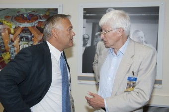 Old colleagues had the chance to catch up with each other – Jérôme Paméla (JET director 2000 – 2006 ) chats with Sir Chris Llewellyn- Smith (former director UKAEA Culham)
