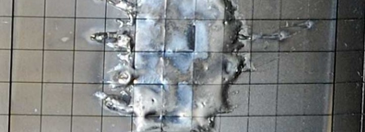 Like splashes of water: re-deposited, molten beryllium  appear on tiles inside the JET vessel after dedicate experiments.