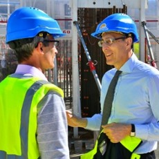 Bernard Bigot on the worksite of ITER. (Image: ITER organization)