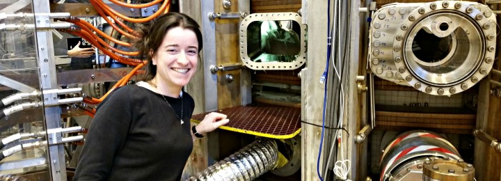 Mélanie at the TCV tokamak of the Swiss Plasma Center. Photograph by Olivier Sauter.