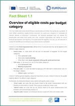 Fact Sheet 1.1 - Overview of eligible costs per budget categories