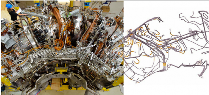Coolant pipe system for the cryostat (left) and the plasma vessel of Wendelstein 7-X. Image and caption credit: Wendelstein 7-X and fusion – At the cutting edge of technology, brochure by Max-Planck-Institute for Plasma Physics.