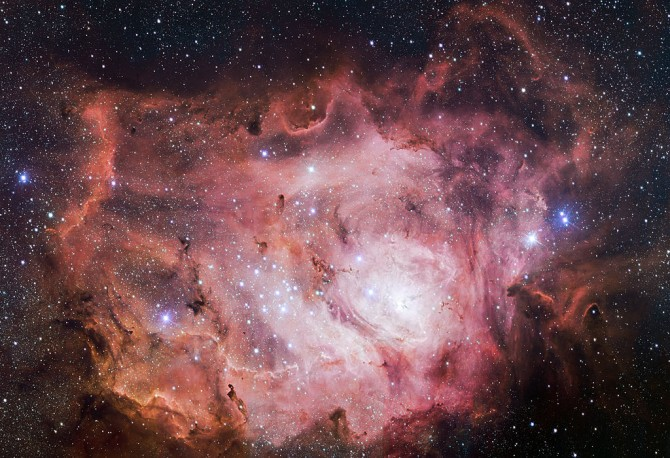 Image: The VLT Survey Telescope (VST) at ESO's Paranal Observatory in Chile has captured this richly detailed new image of the Lagoon Nebula, an example of astrophysical plasma.  By ESO/VPHAS+ team (http://www.eso.org/public/images/eso1403a/) [CC BY 4.0 (http://creativecommons.org/licenses/by/4.0)], via Wikimedia Commons.