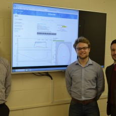 Matthew Carr, Anthony Shaw and Alex Meakins (from left to right) created a dashboard which allows users to browse conveniently through JET's pulse data. Picture: © Copyright protected by United Kingdom Atomic Energy Authority.