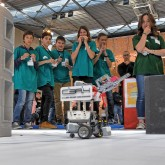 The ITER Robots contest organised in May by Agence ITER France, the ITER Organization, the French Aix-Marseille Academy and the Magnetic Fusion Institute IRFM attracted over 500 students. As part of a for-credit school project, the teams designed and programmed Lego robots to accomplish ITER-like remote handling tasks. Picture: Christophe Roux