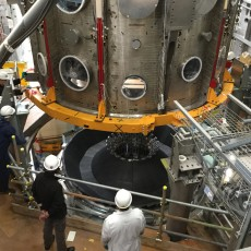 MAST Upgrade's vacuum vessel being moved into place – a significant step for the project to rebuild the UK fusion experiment. Picture: © Copyright protected by United Kingdom Atomic Energy Authority