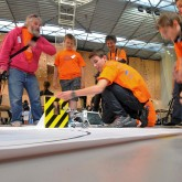 The ITER Robots contest organised in May by Agence ITER France, the ITER Organization, the French Aix-Marseille Academy and the Magnetic Fusion Institute IRFM attracted over 500 students. As part of a for-credit school project, the teams designed and programmed Lego robots to accomplish ITER-like remote handling tasks. Picture: Christophe Roux/CEA