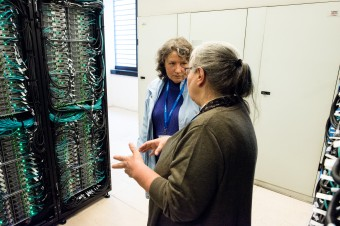 Irina Voitsekhovitch (leftmost) in talks with Elda Rossi (CINECA) at the supercomputing facility in Italy. The machine will be hosted in Bologna. Pictures: Mbou Margherita Libouri/Cineca