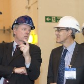 Lorne Horton (left), JET's Exploitation Manager, talks to Bernard Bigot in Culham. Picture: © Copyright protected by United Kingdom Atomic Energy Authority