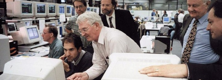 Alan Gibson (white shirt) in the control room on the day when JET set the world record for fusion power.