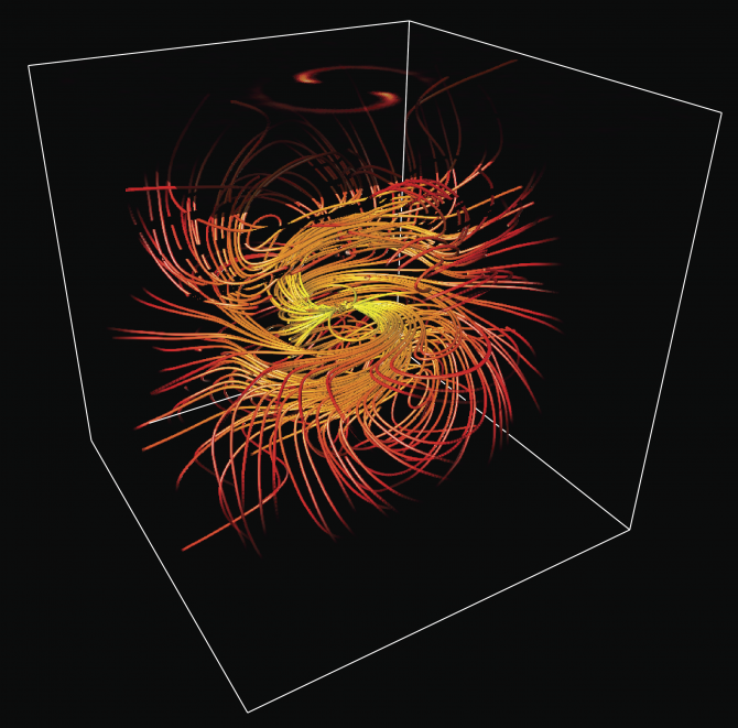 This picture belongs to the Extreme Plasma Physics section from EUROfusion's Portuguese Research Unit. It shows a rotating magnetosphere where the inertia of a background electron-positron plasma slows down the rotation of the magnetic field lines, creating a spiralling structure. Picture: IST