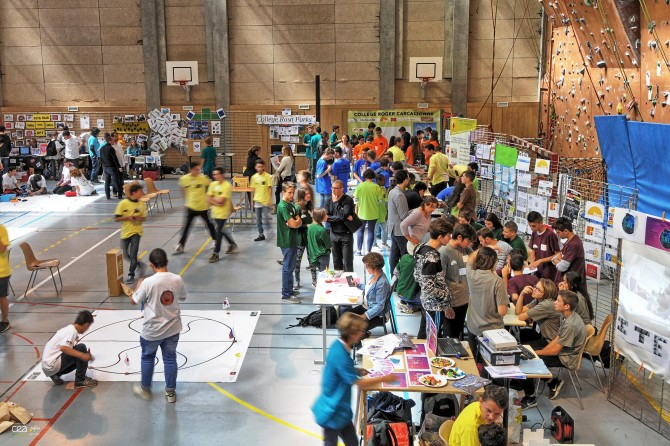 Competitors during the final match of ITER robots in May last year. About 500 school children will participate in 2017.