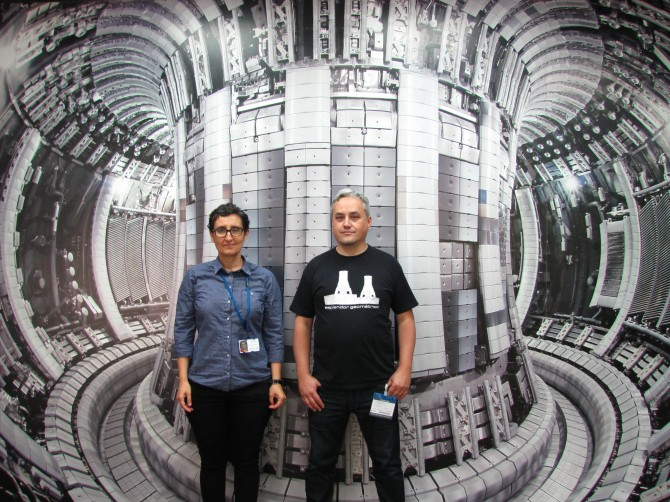 Ana Manzanares, scientist at JET, and Carlos Arillo, musician in JET's entrance hall. Picture: private