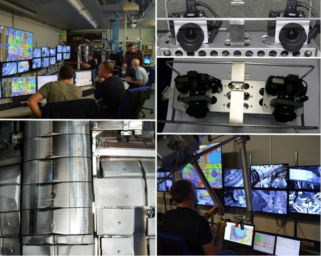 Top left and bottom right: Remote handling operators during the stereo survey; Top right: two views of the stereophotogrammetry assembly; Bottom left: Example of in-vessel picture taken during the operation. Source CCFE