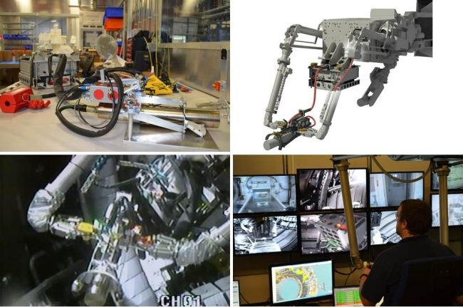 Neutron generator in its lab setting (top left) and deployed on MASCOT (top right); In-vessel view of the neutron generator (bottom left); Remote handling of MASCOT during calibration procedure (bottom right). Source CCFE