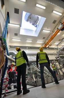 The new superconducting magnet for EUROfusion's Dutch Research Unit being lowered in through the roof. Picture: DIFFER