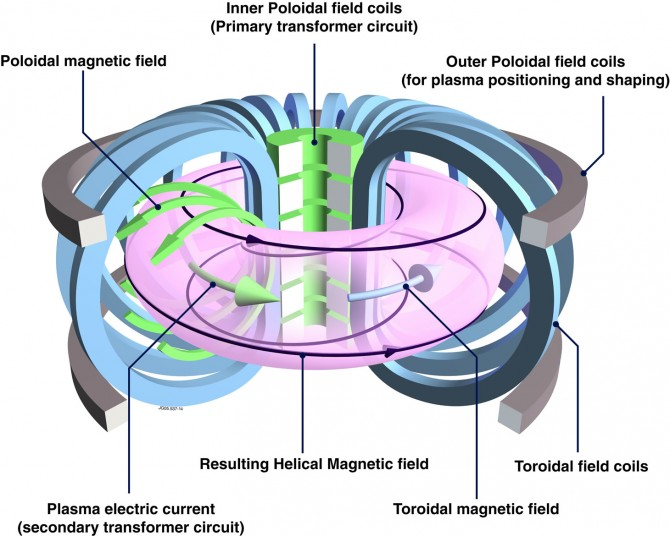 There are two different type of magnets used to confine the plasma in a tokamak: the poloidal magnets which are bent like rings and the toroidal ones. The later come in the form of a capital 'D'. All of these coils combined make up the typical doughnut shape of the plasma. Picture: EUROfusion