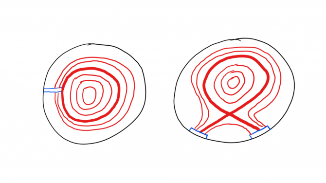 Limited vs diverted configuration. The limited configuration is shown on the left, with the limiter itself in blue, last closed flux surface in bold red and flux surfaces in red. On the right is the diverted configuration, with the target in blue and magnetic surfaces as before. Snowflake flux surfaces on TCV.