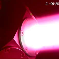 Tungsten target exposed to hydrogen plasma in the linear machine Magnum-PSI. Picture: DIFFER